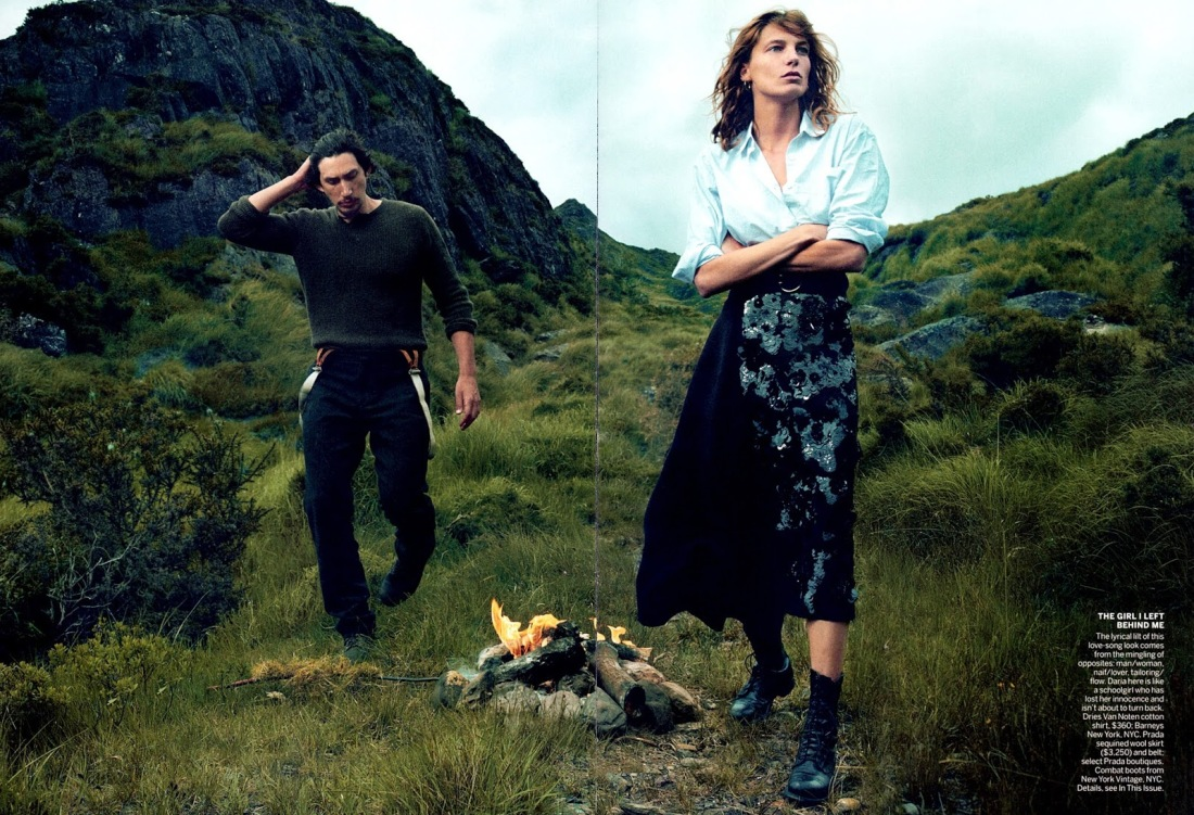 Editorial-Vogue-US-September-2013-Wild-Irish-Rose-Daria-Werbowy-Adam-Driver-by-Annie-Leibovitz-2